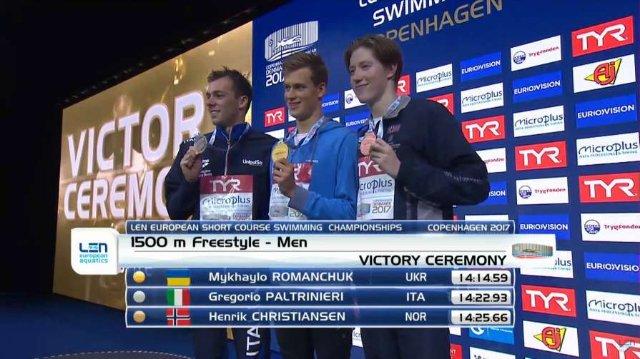 Романчук стал чемпионом Европы на дистанции 1500 метров вольным стилем
